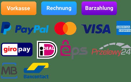 Zahlen Sie per Vorkasse, Rechnung, Kreditkarte, PayPal, Giropay oder iDEAL