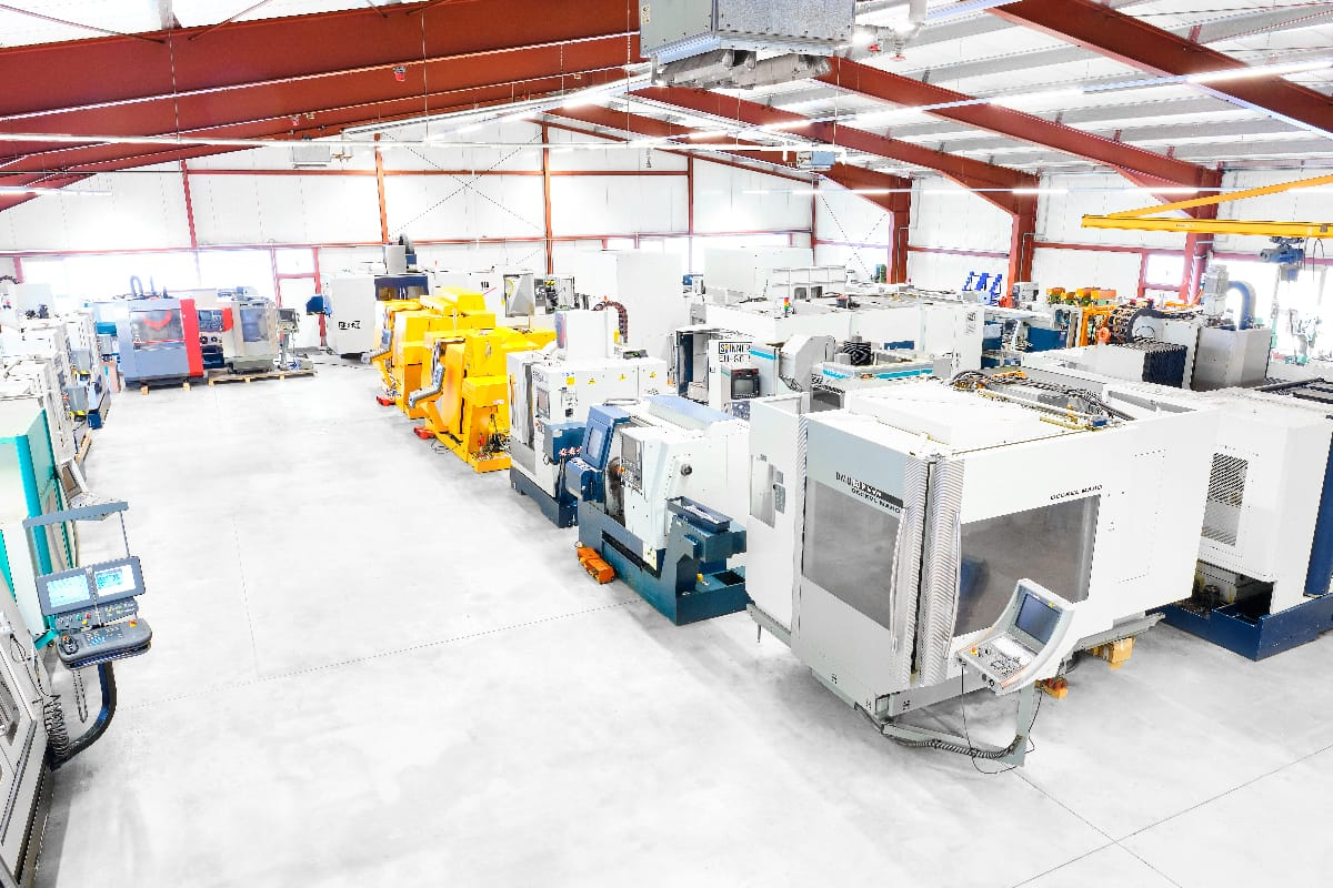 The CNC BOTE machine warehouse with mechanical workshop